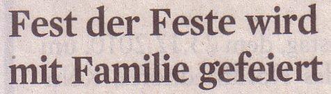 Kölner Stadt-Anzeiger, 20.12.2010, Titel: Fest der Feste wird mit Familie gefeiert