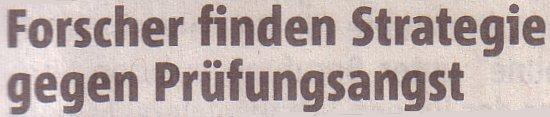 Rheinische Post, 15.01.11, Titel: Strategie gegen Prüfungsangst