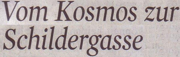 Kölner Stadt-Anzeiger, 05.01.11, Titel: Vom Kosmos zur Schildergasse
