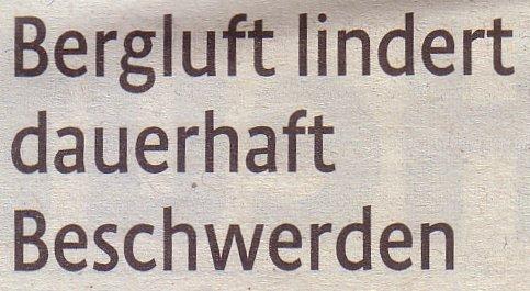 Kölner Stadt-Anzeiger, 04.01.2011, Titel: Bergluft lindert dauerhaft Beschwerden