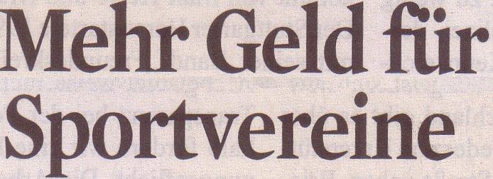 Kölner Stadt-Anzeiger, 23.02.2011, Titel: Mehr Geld für Sportvereine