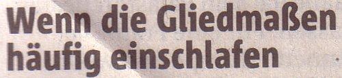 Rheinische Post, 19.02.11, Titel: Wenn die Gliedmaßen häufig einschlafen