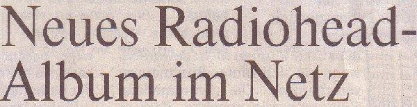 Rheinsiche Post, 21.02.11, Titel: Neues Radiohead-Album im Netz