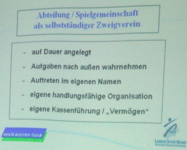 Präsentationsfolie zum Status einer Spielgemeinschaft im Rahmend es VMB-Moduls 2