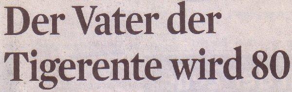 Kölner Stadt-Anzeiger, 11.03.2011, Titel: Der Vater der Tigerente wird 80