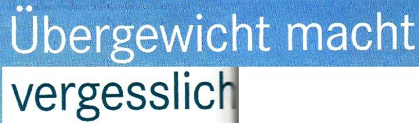 Apothelen-Umschau, 15.04.11, Titel: Übergewicht macht vergesslich