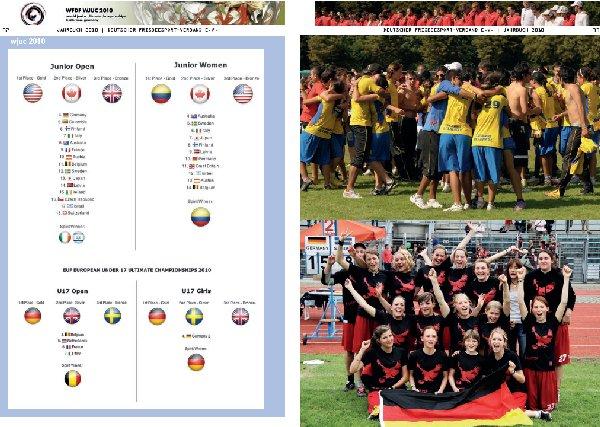 Die Doppelseite 32-33 des DFV-Jahrbuchs 2010 mit dem Ergebnisdienst und den weiblichen Siegerteams aus Heilbronn