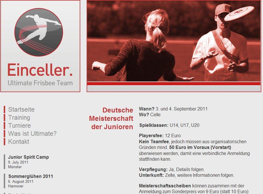 Die Seite zur Anmeldung zur Junioren Ultimate-DM 2011 in Celle