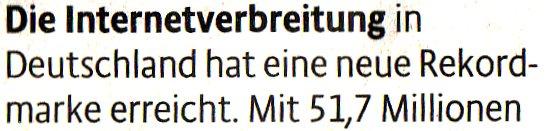 Kölner Stadt-Anzeiger, 05.07.11, Die Internetverbreitung in Deutschland