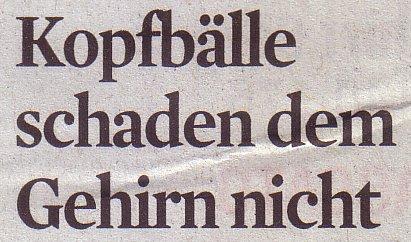 Kölner Stadt-Anzeiger, 14.07.11, Titel: Kopfbälle schaden dem Gehirn nicht