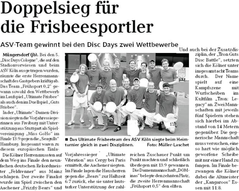 Kölner Wochenspiegel, 29.06.2011, DDC-Nachbericht