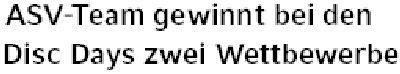 Kölner Wochenspiegel, 26.06.2011: ASV-Team gewinnt bei Disc Days zwei Wettbewerbe