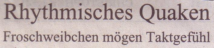 Süddeutsche Zeitung, 06.08.11, Titel: Rhythmisches Quaken