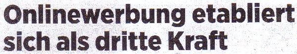 Handelsblatt, 22.09.2011, Titel: Onlinewerbung etabliert sich als dritte Kraft