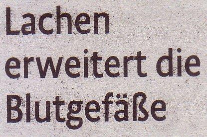 Kölner Stadt-Anzeiger, 02.09.2011, Titel: Lachen erweitert die Blutgefäße