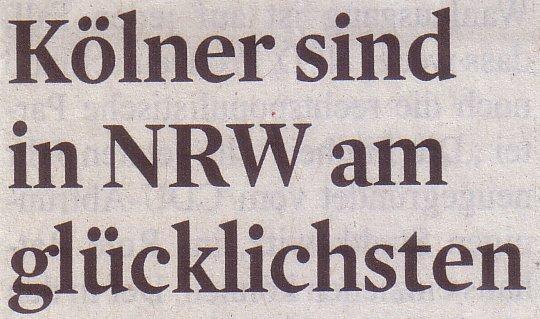 Kölner Stadt-Anzeiger, 21.09.2011, Titel: Kölner sind in NRW am glücklichsten