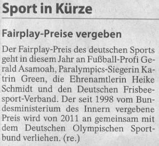 FAZ, 15.10.11, Titel: Fairplay-Preise vergeben