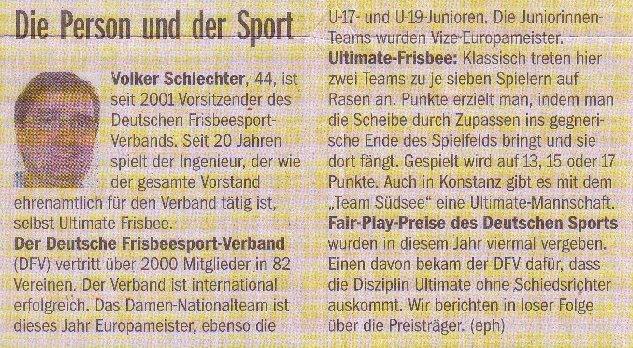 Südkurier, 19.10.2011, Infokasten: Die Person und der Sport