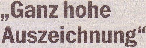 Südkurier, 19.10.2011, Titel: Ganz hohe Auszeichnung