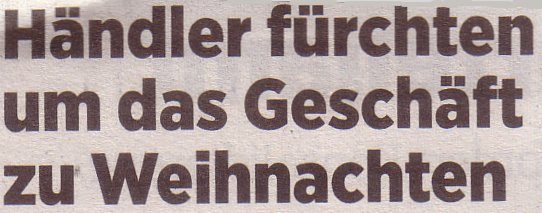 Handelsblatt, 12.10.2011, Händler fürchten um das Geschäft zu Weihnachten