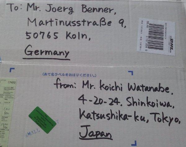 Adresse und Absender des Päckchen aus Japan