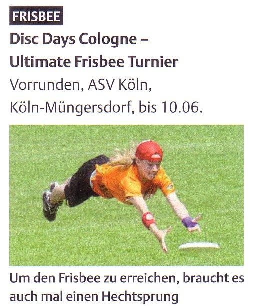 """Die Vorankündigung der 6.DDC im Sportkalender Köln mit neuer Artikelvariante: """"Der Frisbee"""""""