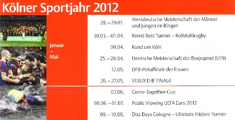 Das erste Halbjahr des Kölner Sportkalenders 2012 in der Übersicht