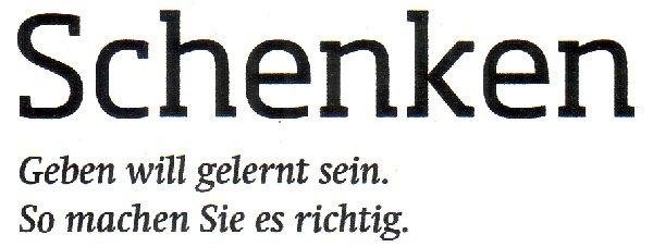 """doppio Dezember-Heft, Titel """"Schenken"""""""