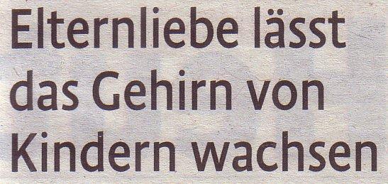 Kölner Stadt-Anzeiger Magazin, 03.02.12: Elternliebe lässt das Gehirn von Kindern wachsen