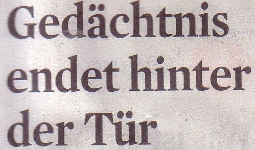 Kölner Stadt-Anzeiger, 16.03.12, Titel: Gedächtnis endet hinter der Tür