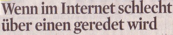 Kölner Stadt-Anzeiger, 26.03.2012: Wenn im Internet schlecht über einen geredet wird